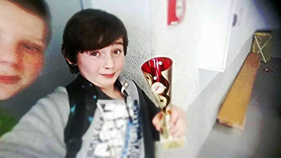 Matěj Lamacz a pohár za první místo :-)